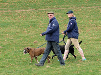 Zara Phillips in blue MUSTO jacket, jodhpurs and polo cap walking course with dogs and unknown older male, side on.