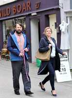 "David Mitchell and Olivia Poulet on set filming for ""Back"" in Stroud"