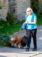 Former Tennis Star and TV Presenter Sue Barker walking  her dogs