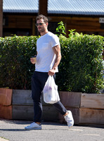 Jamie Dornan in white T shirt and Jeans
