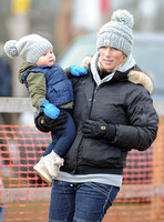 Zara Phillips with Daughter wearing matching woolly hats