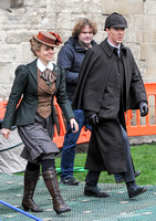 Amanda Abbington and Benedict Cumberbatch in period attire for Sherlock filming