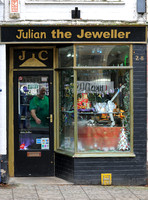"External view of ""Julian the Jeweller"", Glastonbury, Somerset."
