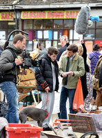 "Mathew Baynton and others including film crew filming market scene from ""Apocalypse Slough"""