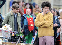 Mathew Baynton and Joel Fry  filming a market scene from Apocalypse Slough
