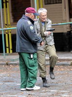 Glenn Close receiving medical attention on set