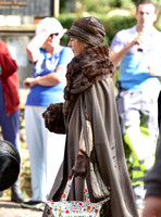 atmosphere, film extras in fur coats on set in Bampton