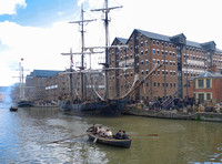scenic shot of Gloucester Docks during the filming of Alice Through The Looking Glass