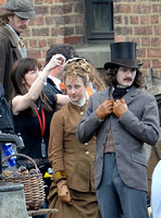 "Mia Wasikowska  and Lindsay Duncan filming scenes for ""Alice in Wonderland"" at Gloucester Docks"