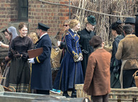 "Mia Wasikowska  and cast filming scenes for ""Alice in Wonderland"" at Gloucester Docks"