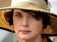 tight close-up of Elizabeth McGovern