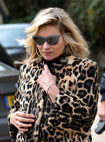 Kate Moss wearing Burberry Prorsum leopard print rabbit fur coat