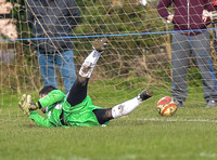 Penalty scored against Longford AFC goalie hitting floor in goal mouth, ball over the line