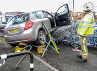 Car crashes into supermarket in Tewkesbury, Gloucester - 1st March, 2016