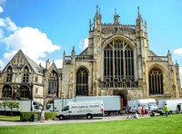 external view of Gloucester cathedral with film trucks in foreground