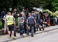 Broadchurch characters filming in Clevedon surrounded by crew