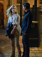 "Tom Cruise with Annabelle Wallis on set of ""The Mummy"""