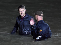 Broadchurch Filming on location at  Clevedon's Marine Lake