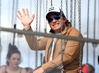 Jamie Oliver on fairground ride at Big Feastival