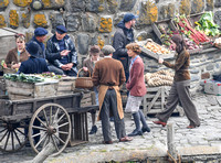 "Lily James and Katherine Parkinson on set of ""Guernsey"""