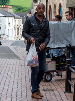 "Sidney Cole on set, filming for ""Back"" in Stroud, with others"