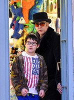 Nicolas Cage with his son Kal-El outside Little Imps