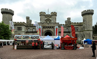 scene of chilli stalls in front of Eastnor Castle