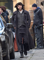 Aiden Turner filming Poldark