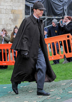 Benedict Cumberbatch in caped coat and deerstalker