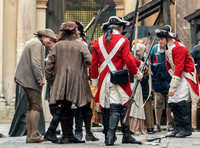 Extras dressed as soldiers for the filming of Poldark
