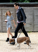 Jamie Hince with Lila Grace pixelated and Archie