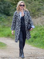Kate Moss wearing Gucci mohair animal print overcoat
