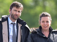 David Tennant and Olivia Coleman on set  of the final series of Broadchurch in Clevedon, Somerset - 3rd June, 2016