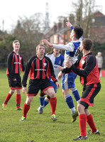 Stuart 'Psycho' Pearce and 2 others for Longford AFC v 2 Wotton Rovers players, one in air.