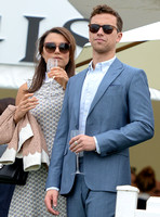 Samantha Barks and Richard Fleeshman wearing sunglasses and drinking champagnedrinking champagne
